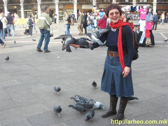 Хранам гулаби на плоштадот Св. Марко во Венеција