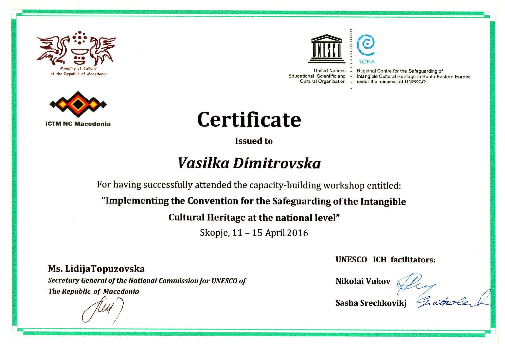 Vasilka_Dimitrovska_Certificate_UNESCO_ICH
